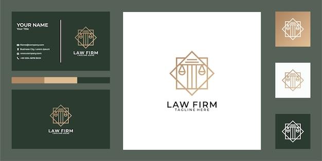 Elegan advocatenkantoor lijntekeningen logo-ontwerp en visitekaartje
