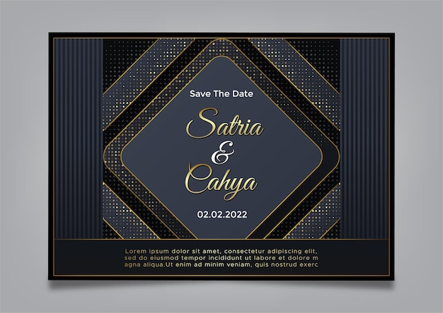 Elegand bruiloft uitnodiging, luxe achtergrondthema