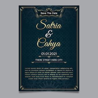 Elegand bruiloft uitnodiging sjabloon gouden sieraad