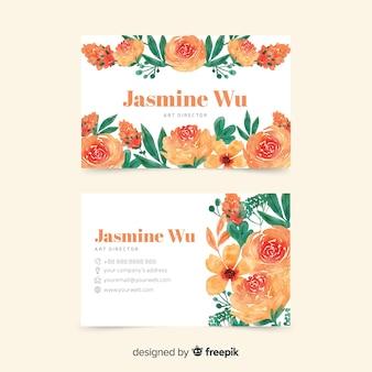 Elegand en bloemen thema voor visitekaartje