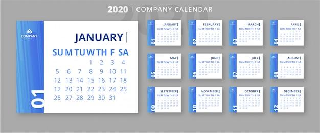 Elegant 2020 bedrijf kalendersjabloon