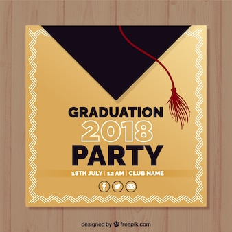 Elegant afstuderen partij uitnodiging sjabloon met platte ontwerp