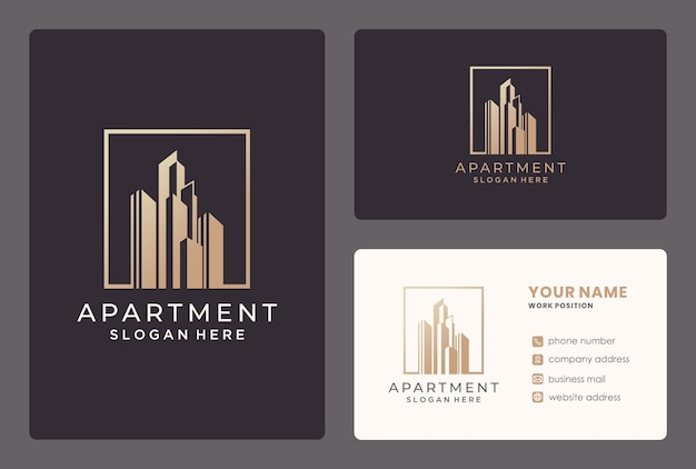 Elegant apartemant / gebouwlogo-ontwerp met visitekaartje.
