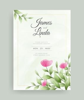 Elegant aquarel bloemen bruiloft uitnodigingskaart sjabloonontwerp