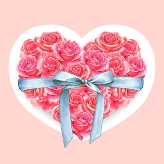 Elegant aquarel hartvormig rozenkussen met zijden strik