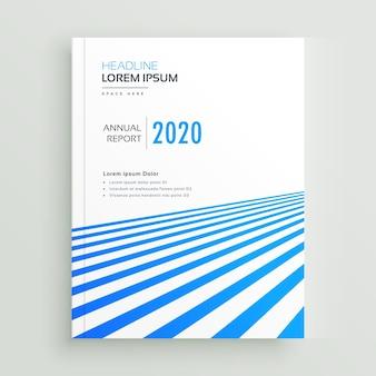 Elegant bedrijfsbrochure posterontwerp met blauwe strepen