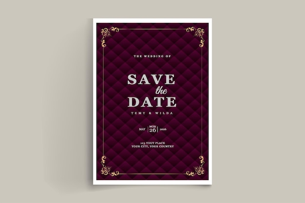 Elegant bewaar de datumuitnodigingskaart