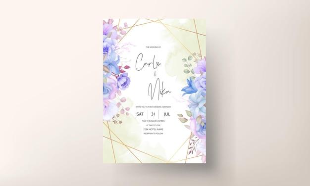 Elegant bloem en bladeren bruiloft uitnodigingskaart ontwerp Premium Vector