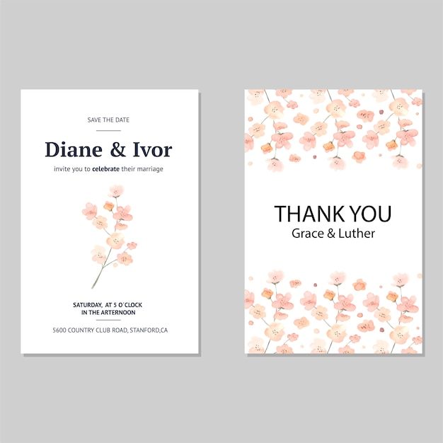 Elegant bloemen de uitnodigingskaart van de huwelijksuitnodiging in waterverf