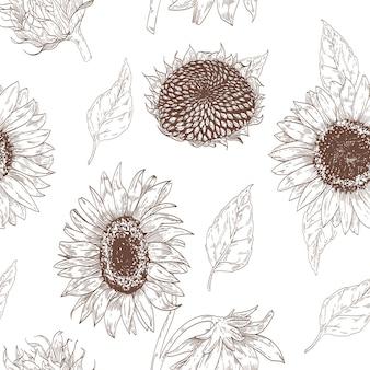 Elegant bloemen naadloos patroon met zonnebloemdelen.