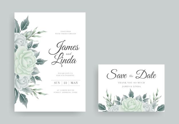 Elegant bloemenhuwelijksuitnodigingskaartontwerp met save the date-sjabloon