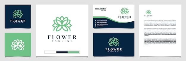Elegant bloemlogo met het visitekaartje van het lijnstijllogo en briefhoofd