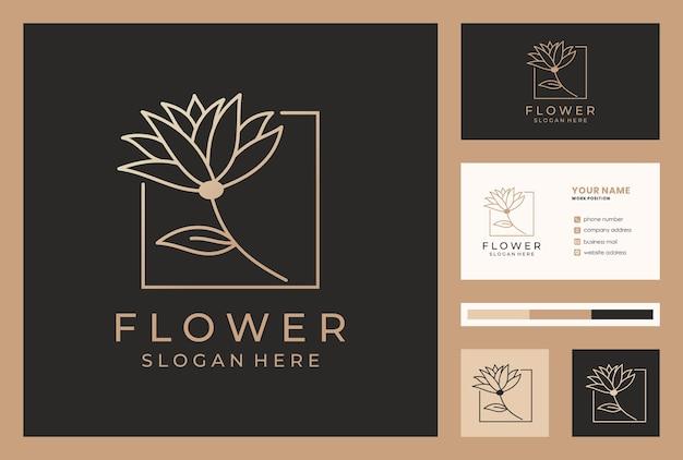 Elegant bloemlogo-ontwerp in monoline-stijl met sjabloon voor visitekaartjes.