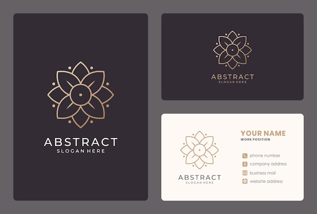 Elegant bloemlogo-ontwerp met visitekaartje.