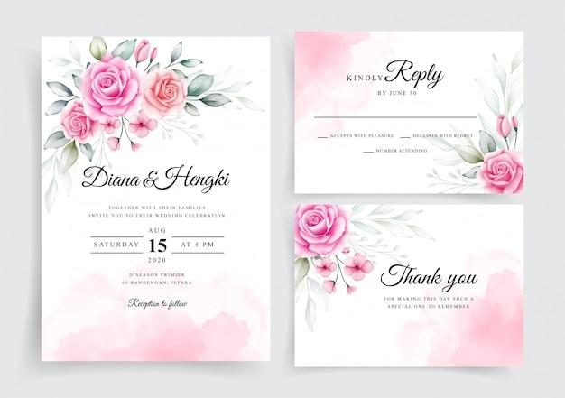 Elegant bloos bloemenwaterverf op de kaartsjabloon van de huwelijksuitnodiging