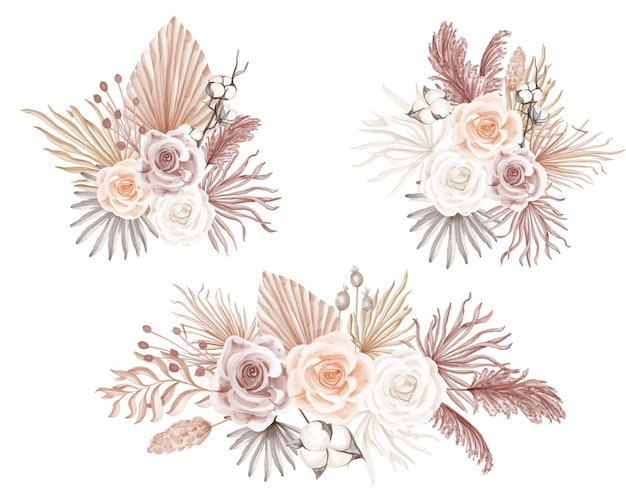 Elegant boho rose aquarel bloemstuk