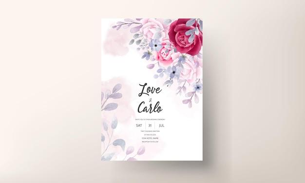 Elegant bourgondië een paarse bloemenuitnodigingskaart van het waterverfhuwelijk