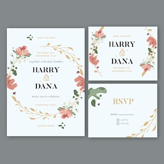 Elegant bruiloft briefpapier sjabloon concept