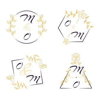 Elegant bruiloft logo's concept