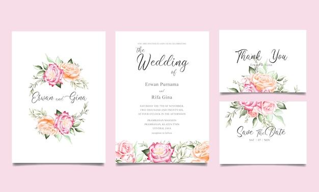 Elegant bruiloft uitnodiging sjabloon kaart ontwerp