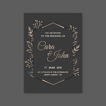Elegant bruiloft uitnodiging sjabloon thema