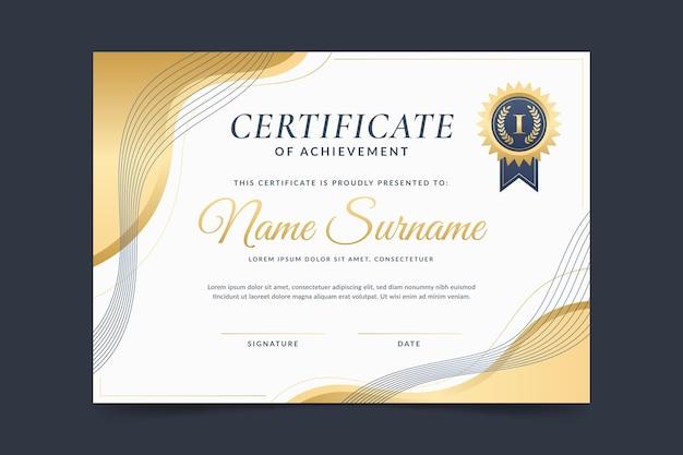Elegant certificaat in verloopstijl Premium Vector