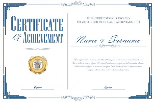 Elegant certificaat of diploma retro vintage ontwerp
