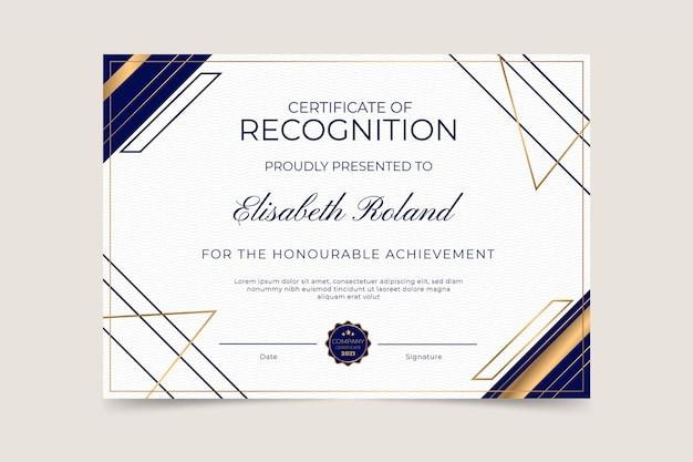 Elegant certificaat van erkenning sjabloon