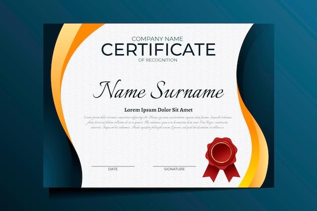Elegant certificaat van herkenningssjabloon
