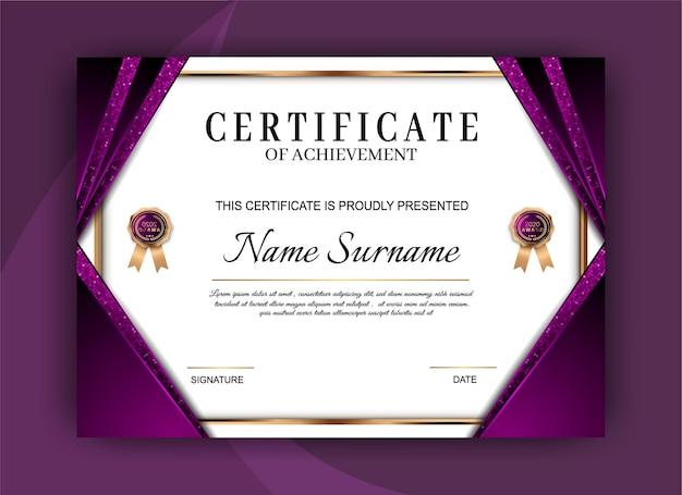 Elegant certificaat van prestatie sjabloonontwerp