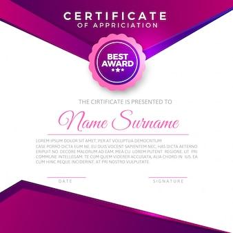 Elegant certificaat voor waardering