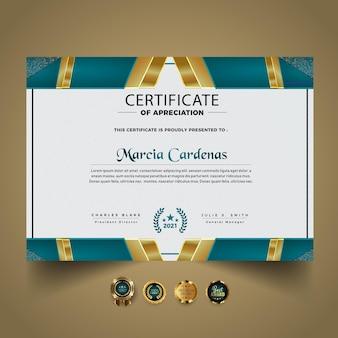 Elegant certificaatsjabloonontwerp met verloop