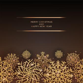 Elegant christmas wenskaart met glanzende glinsterende gouden sneeuwvlokken op zwarte achtergrond