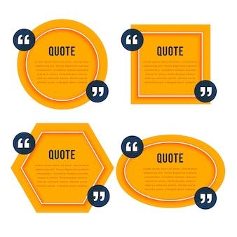 Elegant citaat gele dozen sjabloonontwerp