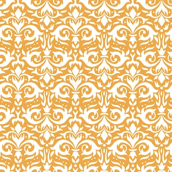 Elegant damastpatroon. sierlijke bloemen takjes, gouden barok ornament en luxe sierbloemen naadloze achtergrond