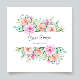 Elegant de uitnodigingsontwerp van het waterverf bloemenhuwelijk