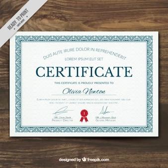 Elegant diploma met een siertuin frame