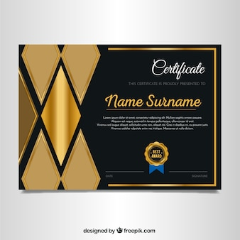 Elegant diploma van gouden ruiten
