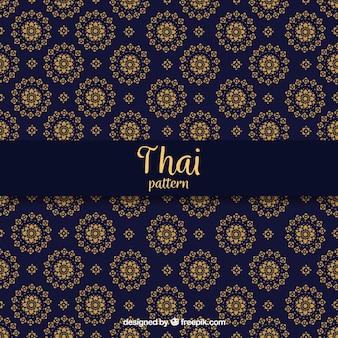 Elegant donkerblauw thais patroon