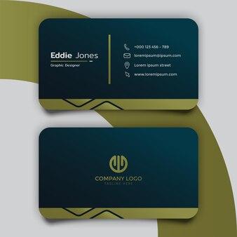 Elegant donkergroen sjabloonontwerp voor visitekaartjes