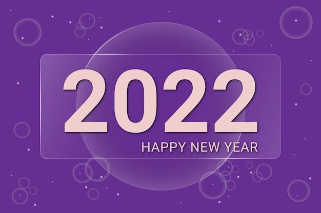 Elegant en minimaal 2022 gelukkig nieuwjaar op glasachtergrond en bubbel