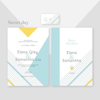 Elegant en modern ontwerp van de sjabloon van de huwelijksuitnodiging Gratis Vector