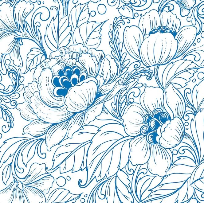 Elegant etnisch decoratief blauw bloemenpatroonontwerp