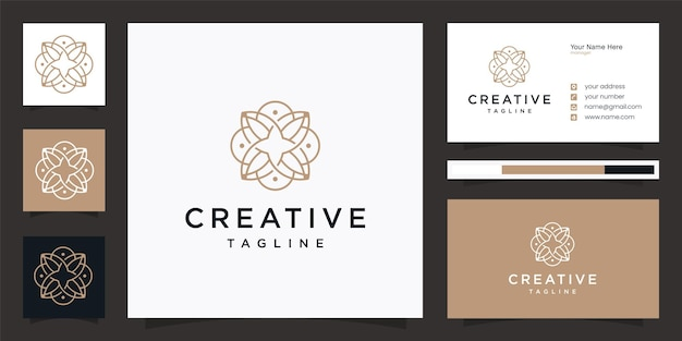 Elegant flower community-logo-ontwerp met visitekaartje