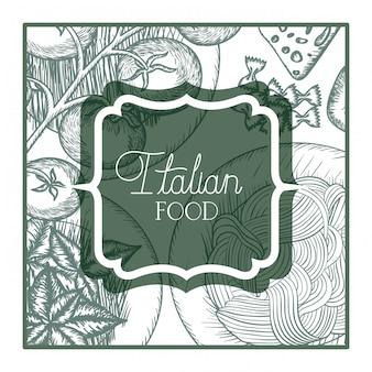 Elegant frame victorian met italiaans voedsel
