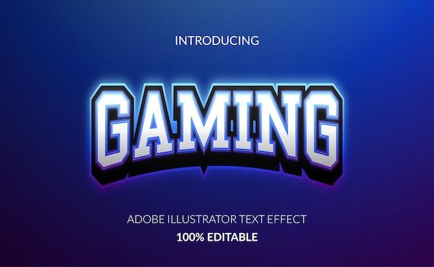 Elegant gaming-teksteffect voor e-sportlogo met gloeiende blauwe omtrekkleur en metallic kleur.