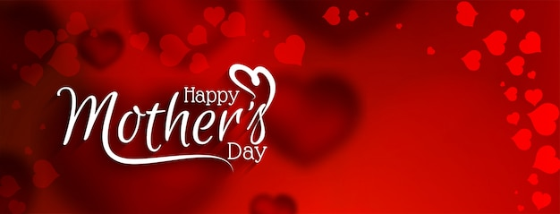 Elegant gelukkig moederdag rood bannerontwerp