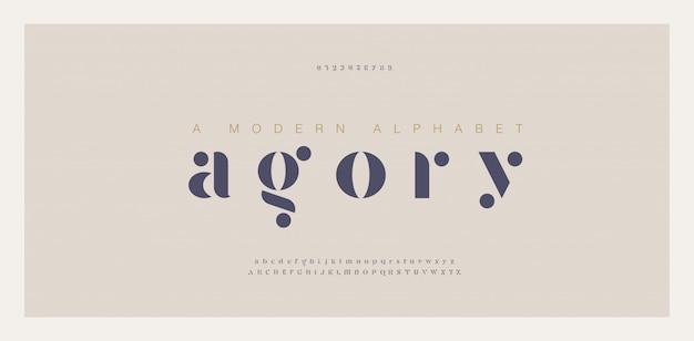 Elegant geweldig alfabet letters lettertype en nummer