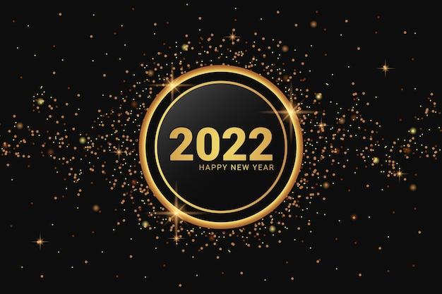 Elegant gouden 2022 gelukkig nieuwjaar op glas en glitterachtergrond