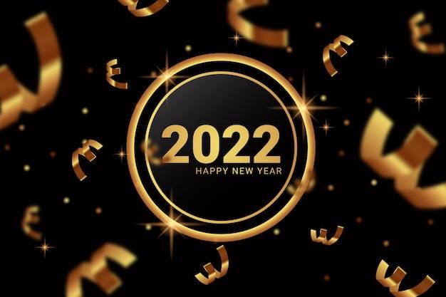 Elegant gouden 2022 gelukkig nieuwjaar op glas en lintachtergrond
